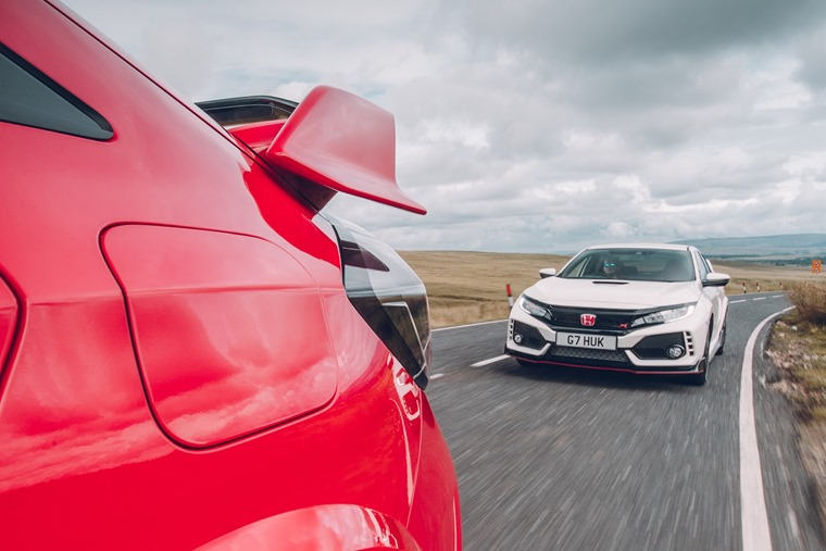 2017 Honda Civic Type R on the road