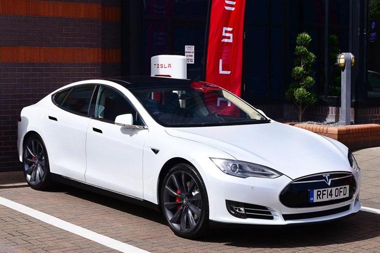 A Tesla Model S recharging at Birmingham's Supercharger.