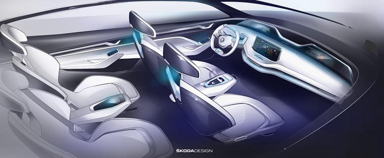 New Skoda Vision E concept interior