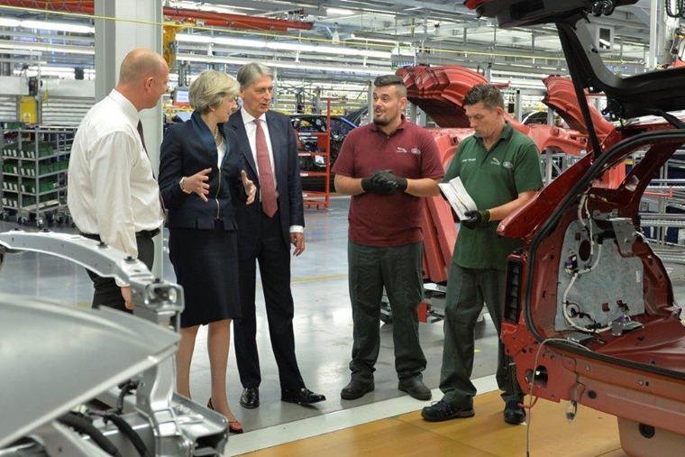 Chancellor Philip Hammond and PM Theresa May visit Jaguar