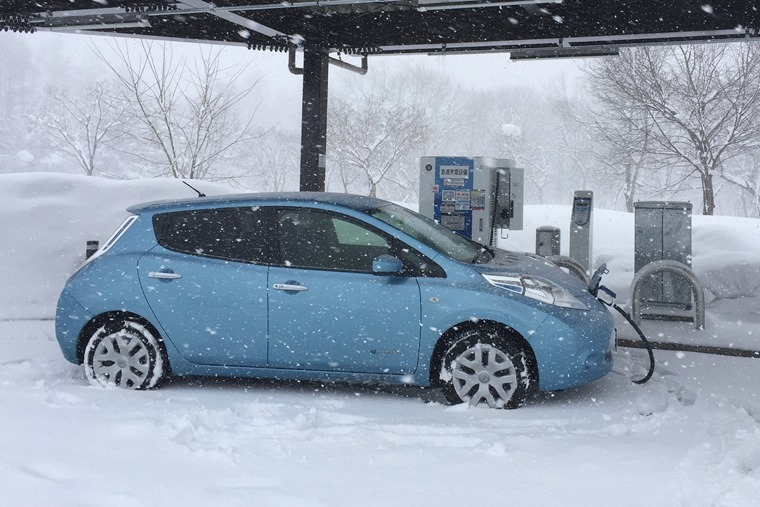 Electric car in cold weather