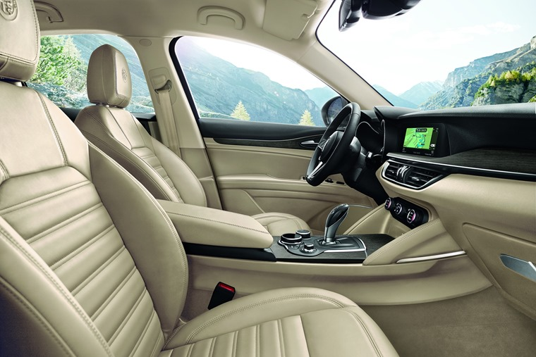 Full leather interiors feature on mid-range Stelvio Supers and above.