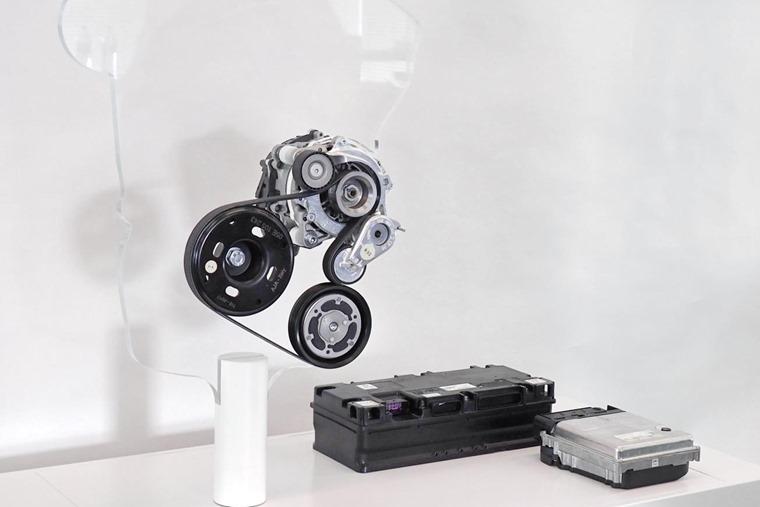48 V belt-integrated starter generator, 48 V battery and DC-DC converter
