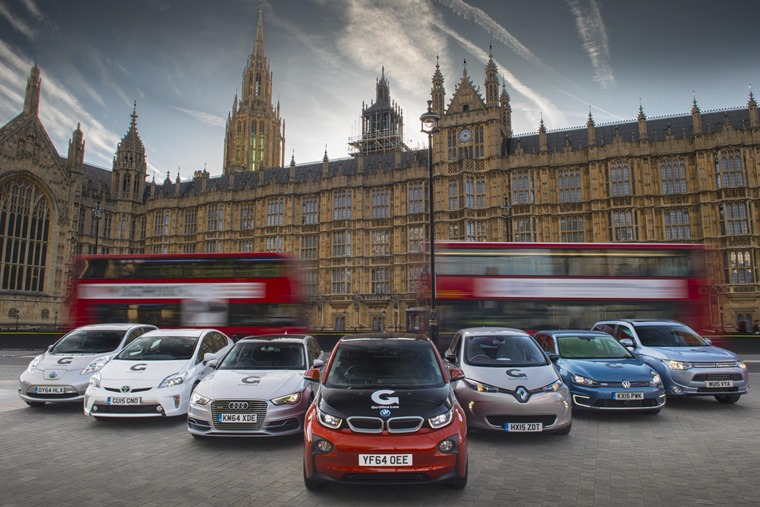 Out of 84 vehicles, only six are fully electric (Nissan Leafs) and one is hydrogen-powered (Toyota Mirai)