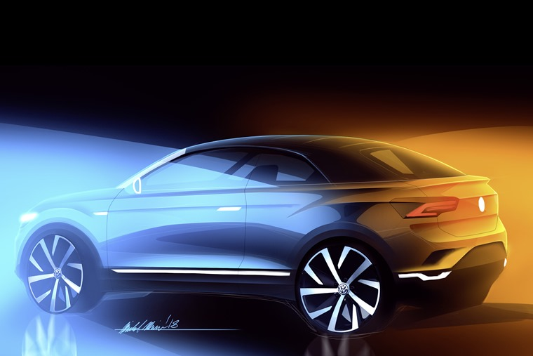 A first glimpse of the newly-developed cabriolet version of the T-Roc background