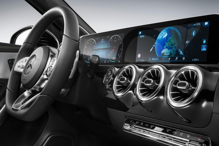 Mercedes is showcasing a new infotainment system that will feature in the upcoming A-Class (pictured).