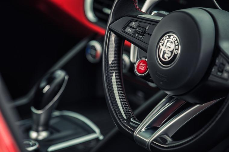 Alfa Romeo Giulia Quadrifoglio's big red button