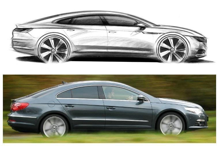 Volkswagen's Arteon is to be the company's flagship new saloon car, filling the gap the ageing CC has left (below)