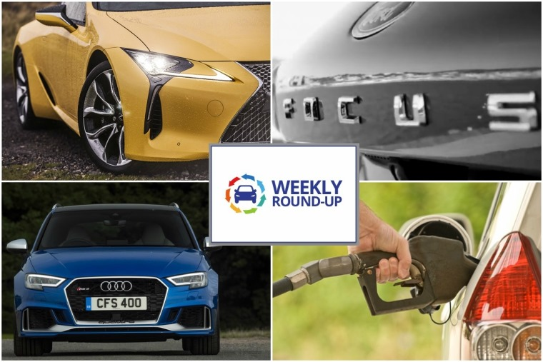 Top left clockwise: Lexus LC500 V8, new Ford Focus, diesel tax rises and Audi RS 4.