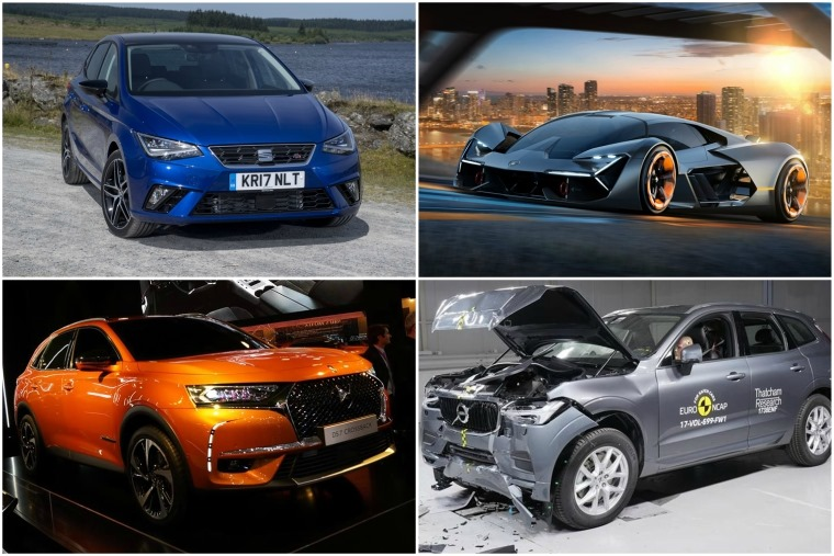 Top left clockwise: Seat Ibiza, Lamborghini concept, Volvo XC60 crash test, new DS 7 Crossback.