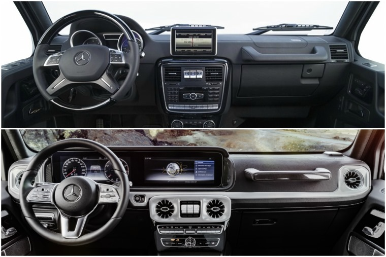 The new G-Class (below) gets a much more refined and well-finished dashboard than the outgoing generation (above).