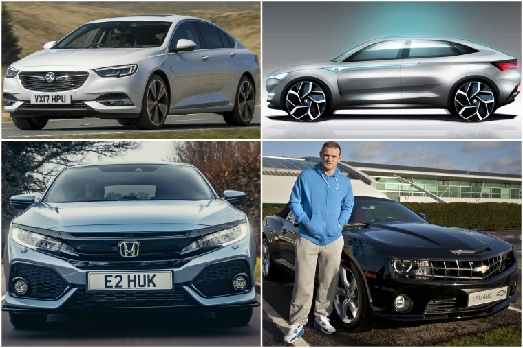 Top left clockwise: New Vauxhall Insignia Grand Sport, Seat Vision E concept, Wayne Rooney and his Camero, New Honda Civic driven.