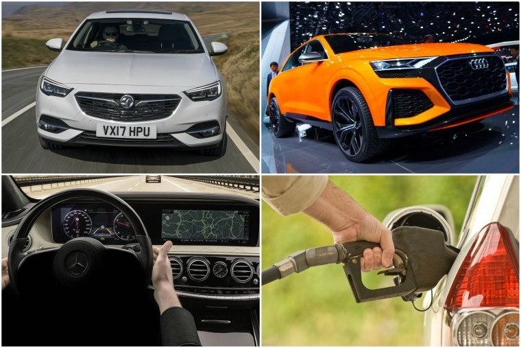 Top left clockwise: New Vauxhall Insignia Grand Sport, Audi Q8 concept, UK motor industry defends diesel, and semi-autonomous S-Class for 2018.