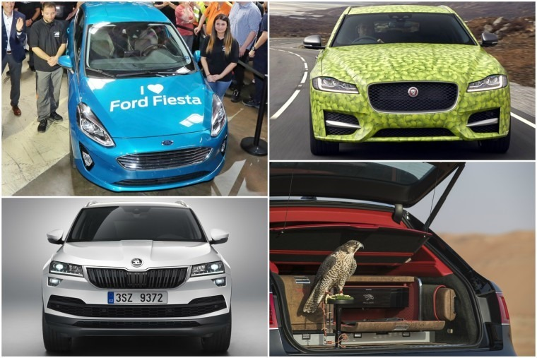 Top left clockwise: First new Fiesta rolls off production line, XF Sportbrake makes a racquet at Wimbledon, a falcon-ferrying Bentley and the new Skoda Karoq.