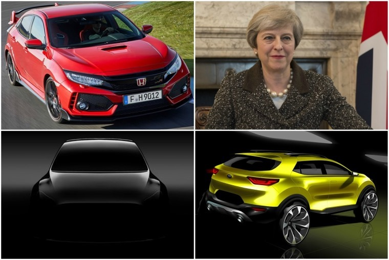 Upper left clockwise: New Honda Civic Type R, Theresa May, the new Kia Stonic and a teaser pic of Tesla Model Y.