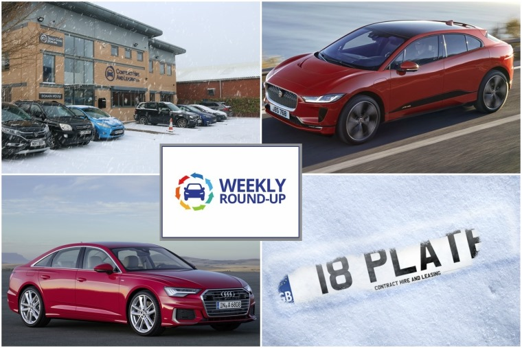 Top left clockwise: a wintery ContractHireAndLeasing hq, new Jaguar I-Pace EV, 18 plate is released and new Audi A6.