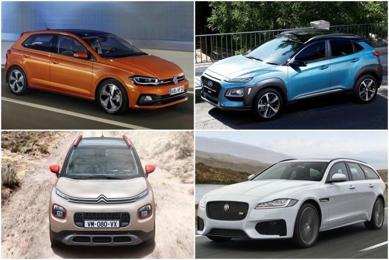 Top left clockwise: New Volkswagen Polo, new Hyundai Kona, New Jaguar XF Sportbrake and new Citroen C3 Aircross.