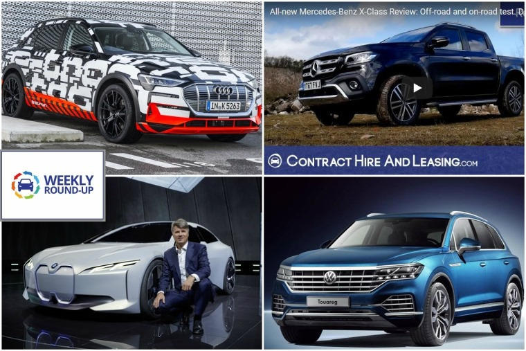 Top left clockwise: Audi e-tron, Mercedes X-Class video review, all-new Volkswagen Touareg and upcoming BMW i4.