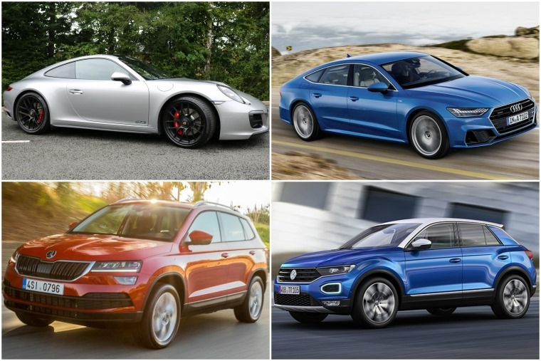 Top left clockwise: Porsche 911 GTS, all-new Audi A7, Volkswagen T-Roc, Skoda Karoq.