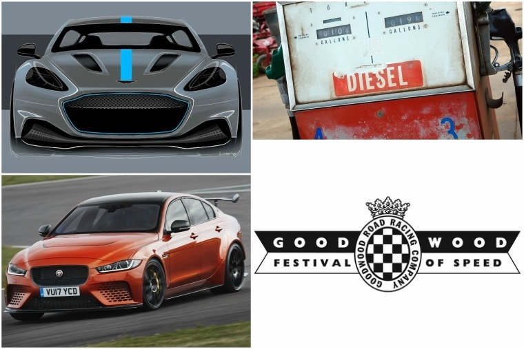 Top left clockwise: Aston Martin RapidE, diesel parking premiums, Goodwood FoS, Jaguar XE Project 8