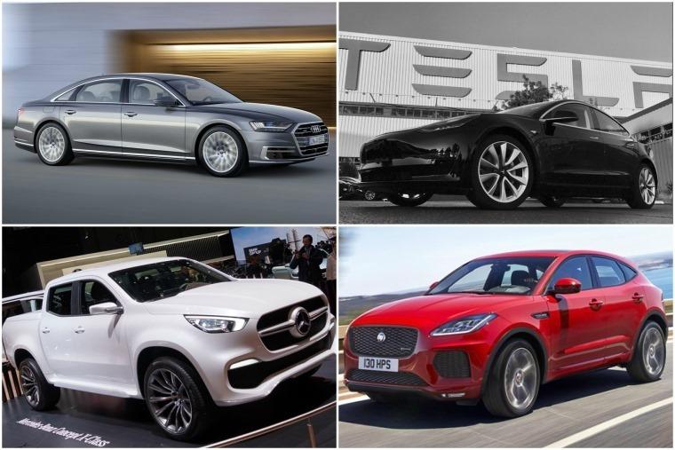 Top left clockwise: Audi A8, Tesla Model 3, Jaguar E-Pace and Mercedes-Benz X-Class