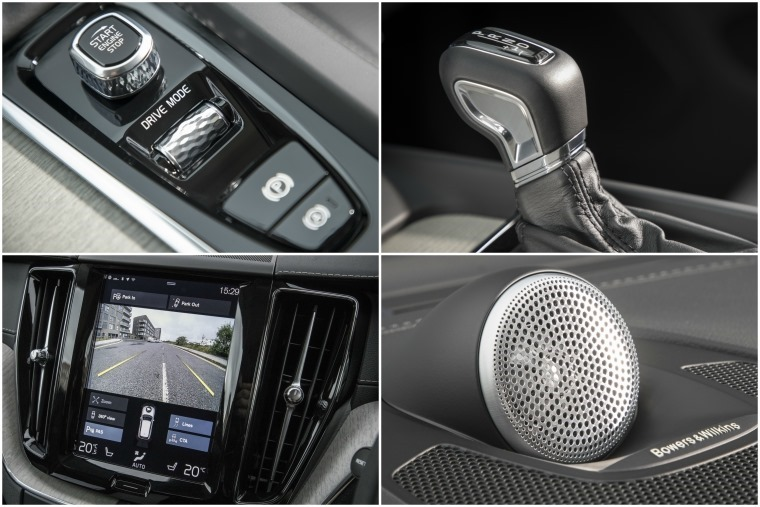 Top right clockwise: Drive Mode control, 8-speed automatic gearbox, optionals Bowers and Willkins sound system, 9in infotainment system.