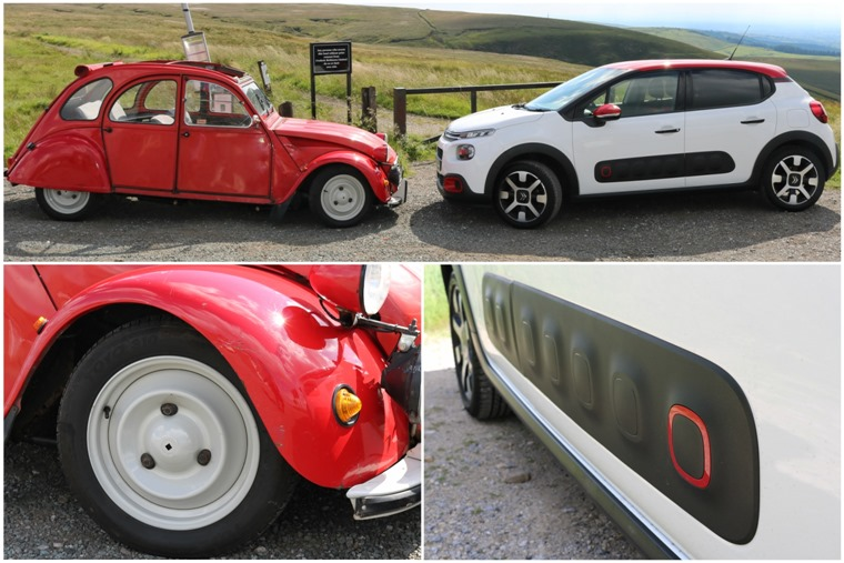 C3 and 2CV side-on, wheels and Airbumps