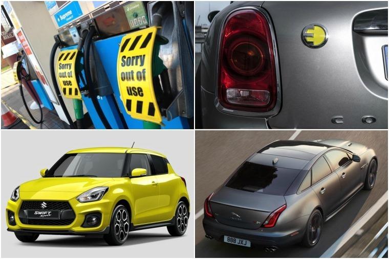 Top left clockwise: petrol and diesel ban by 2040, new electric mini, Jaguar XJR, new Suzuki Swift.