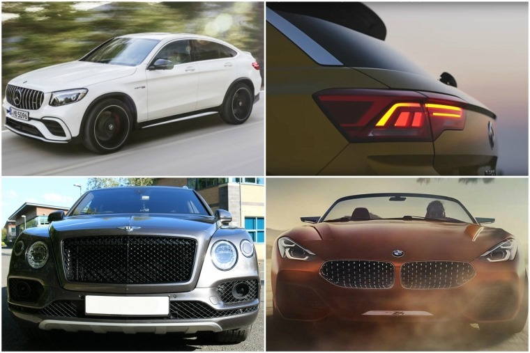 Top left clockwise: New GLC Mercedes-AMG 63 S, Volkswagen T-Roc preview, BMW Z4 concept and Bentley Bentayga.