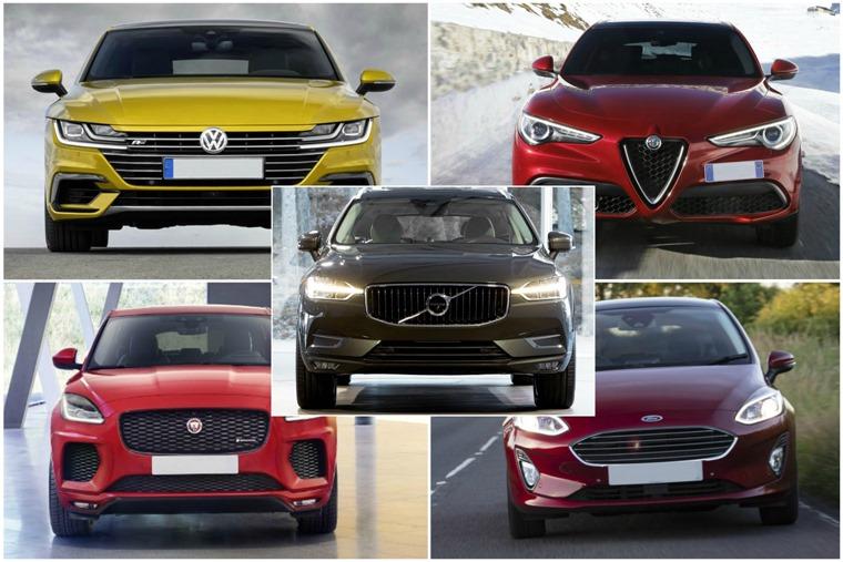 67 plate cars: Volkswagen Arteon, Volvo XC60, Alfa Romeo Stelvio, Ford Fiesta and Jaguar E-Pace.