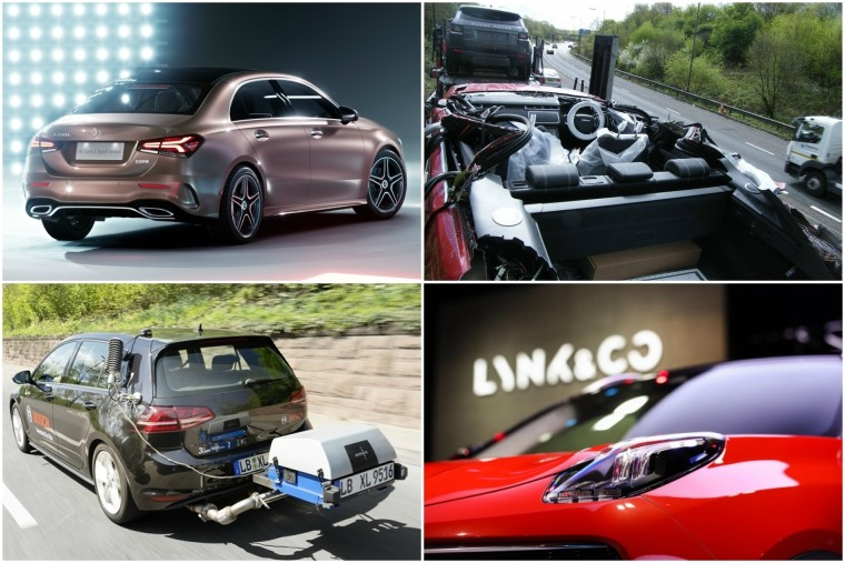Top left clockwise: New Audi naming strategy, Mercedes-AMG E 63 S, hybrid rumble and new Volkswagen T-Roc