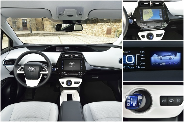 The Prius Plug-In's interior is almost identical to the normal version's, except for some visual changes to the colour dash display and of course the drive mode buttons.