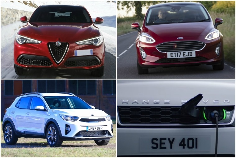 Top left clockwise: New Alfa Romeo Stelvio, New Ford Fiesta, Range Rover Sport PHEV and Kia Stonic.