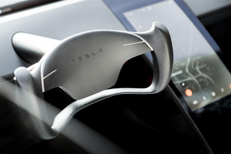 Futuristic interior Tesla Roadster