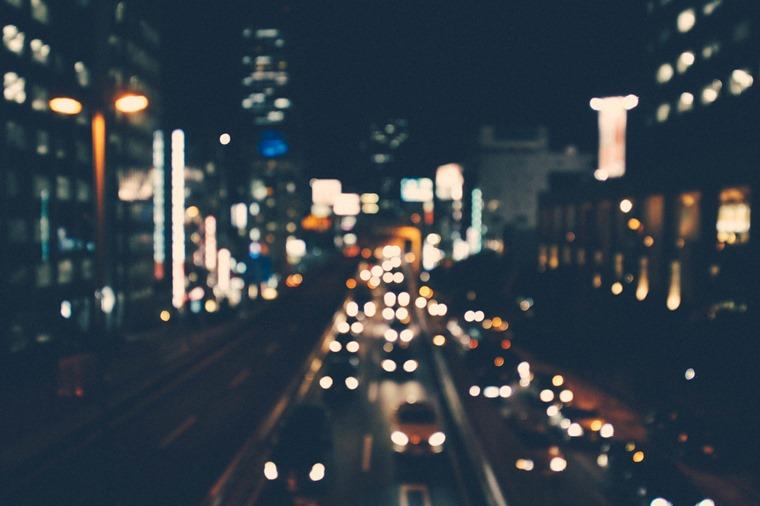 blurry traffic pollution