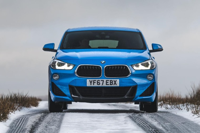 BMW X2 front snow