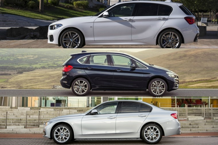 BMW 1 Series, 2 Series, 3 Series side comparison