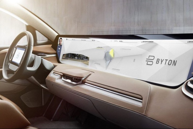 Byton features a futuristic 50in dashboard display.