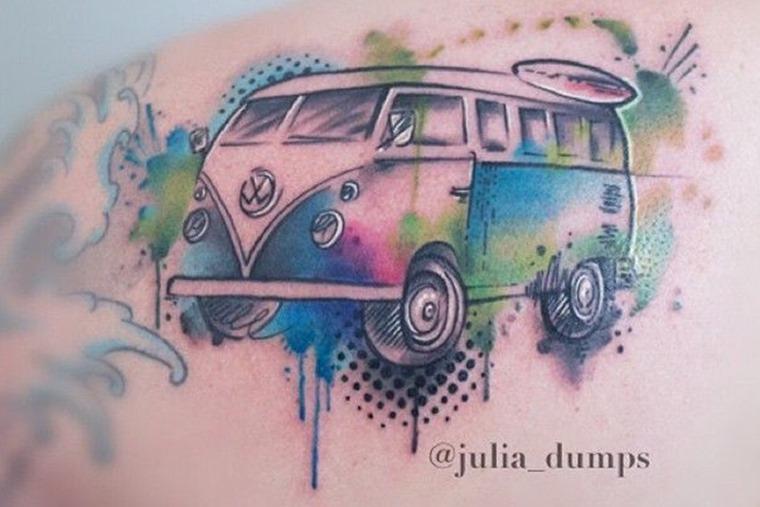 Volkswagen Campervan hippy tattoo by @julia_dumps