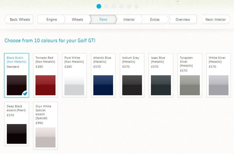 Car makers' configurators will give you an idea of the choice and price of paints.