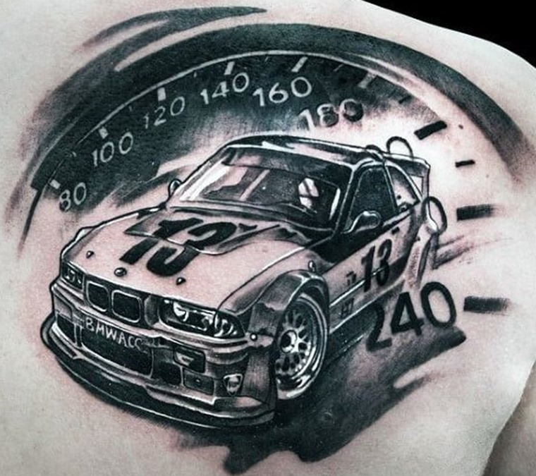 BMW black and white racing car tattoo