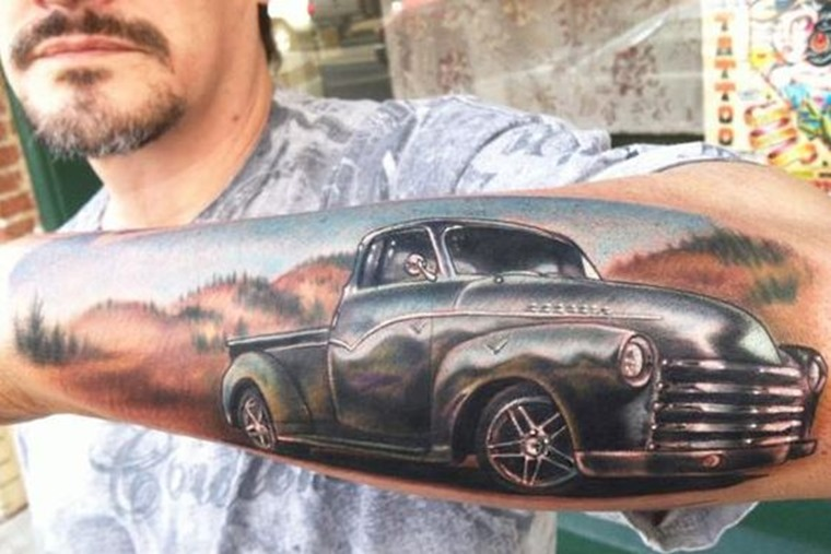 Cheverolet pick-up truck tattoo