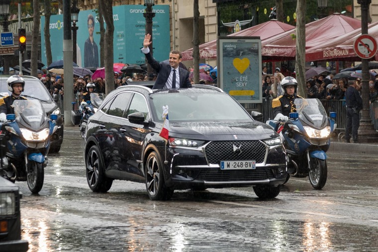 President Emmanuel Macron's choice of car is the new DS7 SUV.