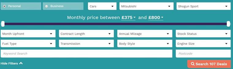click here for Mitsubishi Shogun Sport lease deals