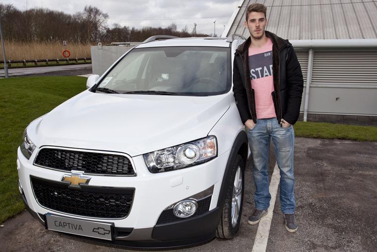 Manchester United goalkeeper David de Gea with his Chevrolet Captiva LTZ