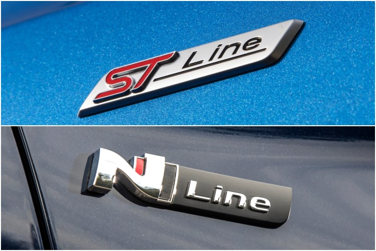 Ford Focus ST-Line vs Hyundai i30 N-Line badges