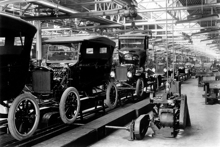 1924 Model T Assembly Line: The 10 millionth Model T was produced on June 4, 1927.  From the collections of The Henry Ford and Ford Motor Company