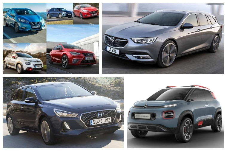 Upper left clockwise: Superminis for 2017, Insignia Sports Tourer, C-Aircross concept, new Hyundai i30