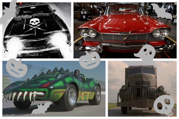 Top left clockwise: Death Proof, Christine, Jeepers Creepers, Death Race 2000