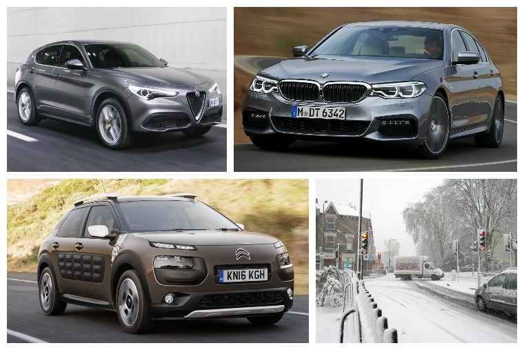 Top left clockwise: new Alfa Romeo Stelvio, New BMW 5 Series, Storm Doris hits and Citroen C4 the marmite car